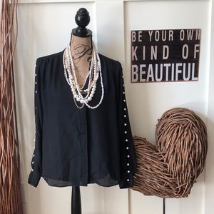 Jennifer Lopez black sheer tunic w/ pearl sleeves